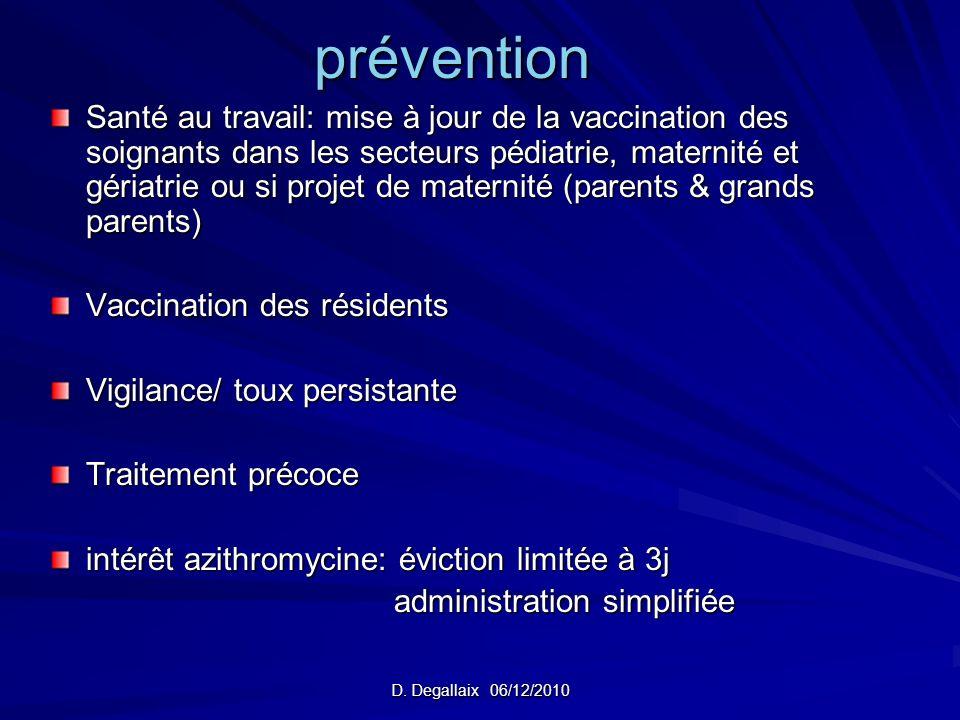 D. Degallaix 06/12/2010 prévention Santé au travail: mise à jour de la vaccination des soignants dans les secteurs pédiatrie, maternité et gériatrie o