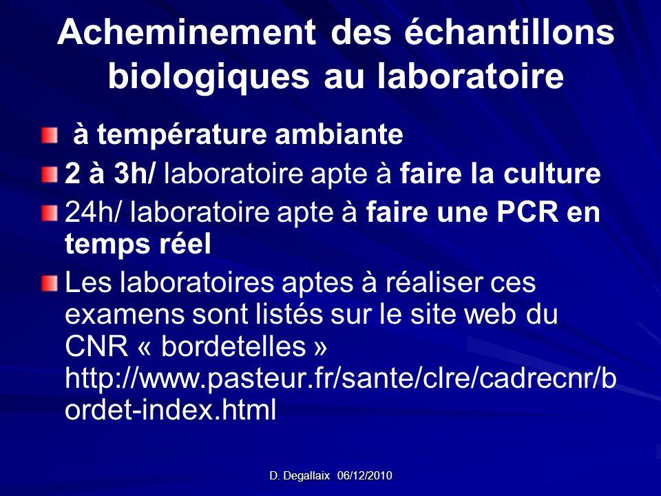 Acheminement des échantillons biologiques au laboratoire à température ambiante 2 à 3h/ laboratoire apte à faire la culture 24h/ laboratoire apte à fa