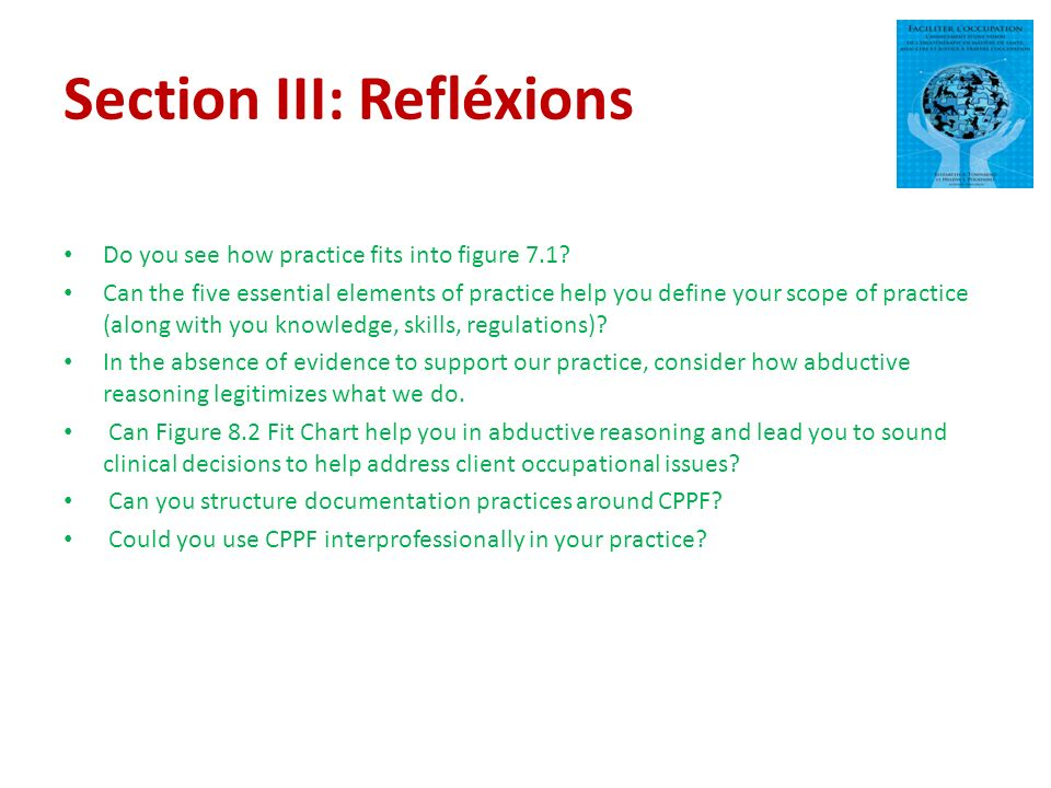 Section III: Refléxions Do you see how practice fits into figure 7.1.