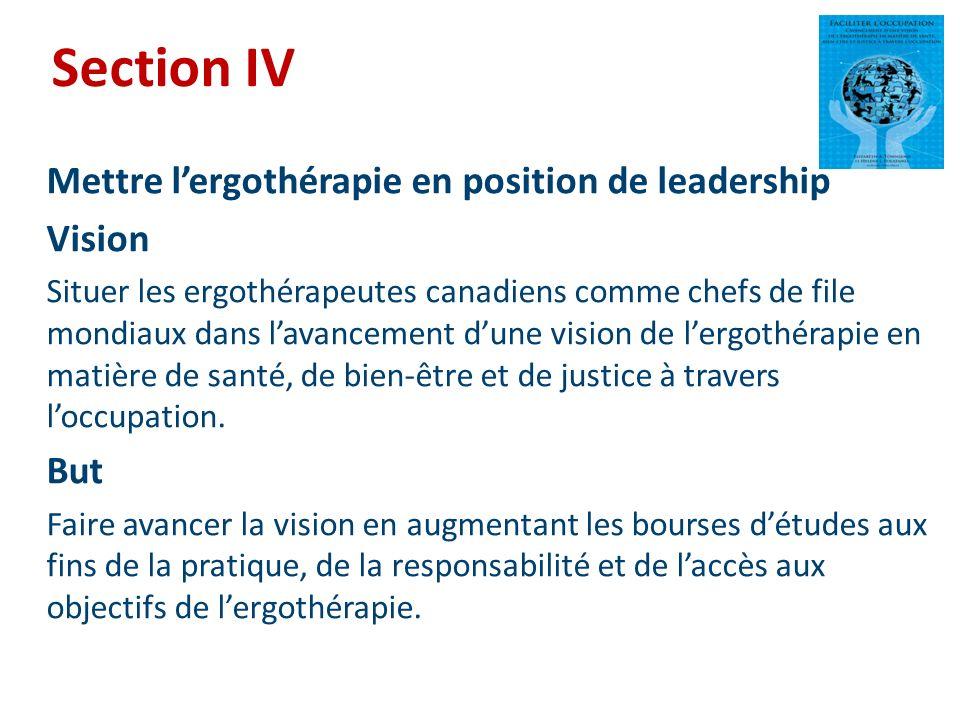 Section IV Mettre lergothérapie en position de leadership Vision Situer les ergothérapeutes canadiens comme chefs de file mondiaux dans lavancement du