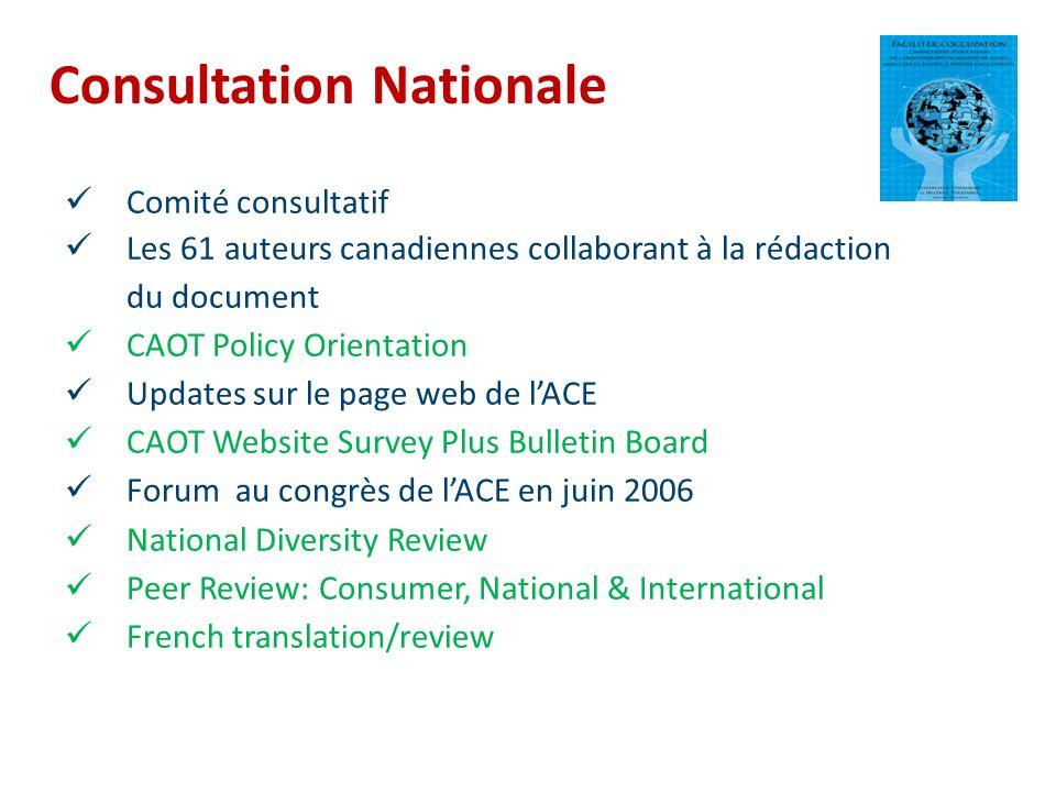 Consultation Nationale Comité consultatif Les 61 auteurs canadiennes collaborant à la rédaction du document CAOT Policy Orientation Updates sur le pag