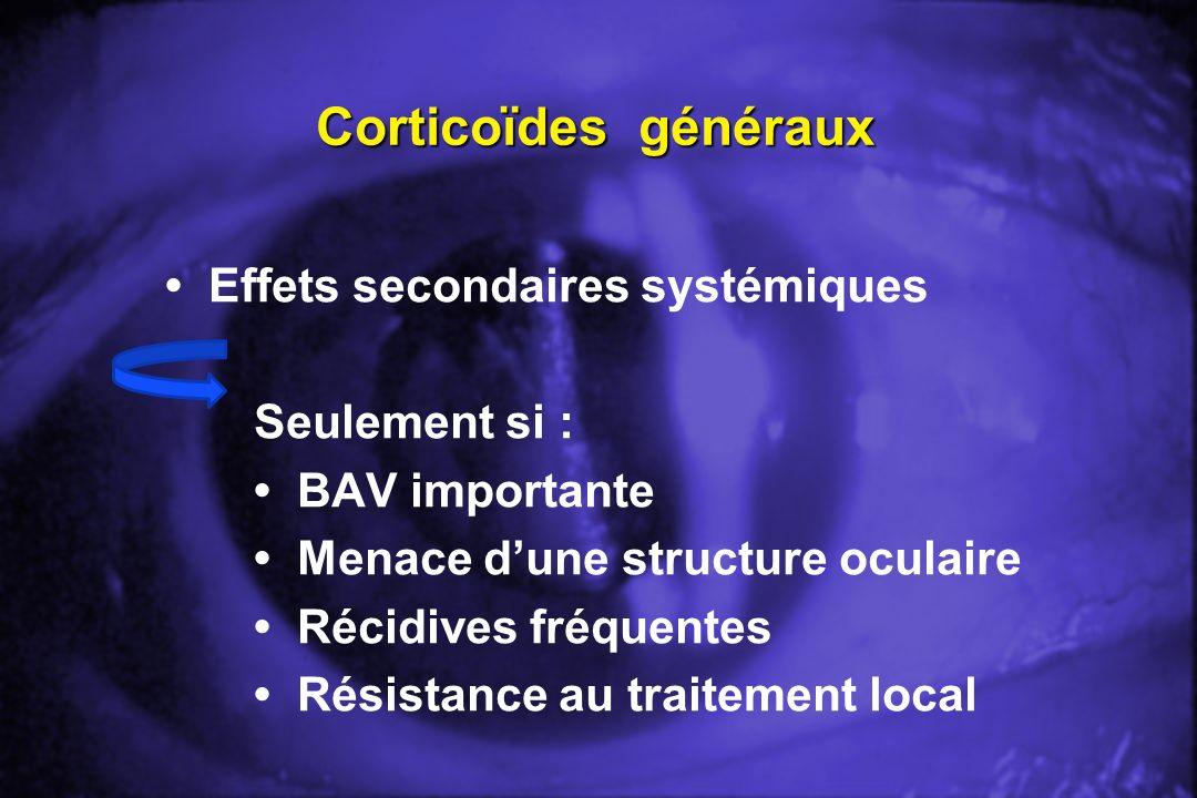 Corticoïdes généraux Effets secondaires systémiques Seulement si : BAV importante Menace dune structure oculaire Récidives fréquentes Résistance au tr