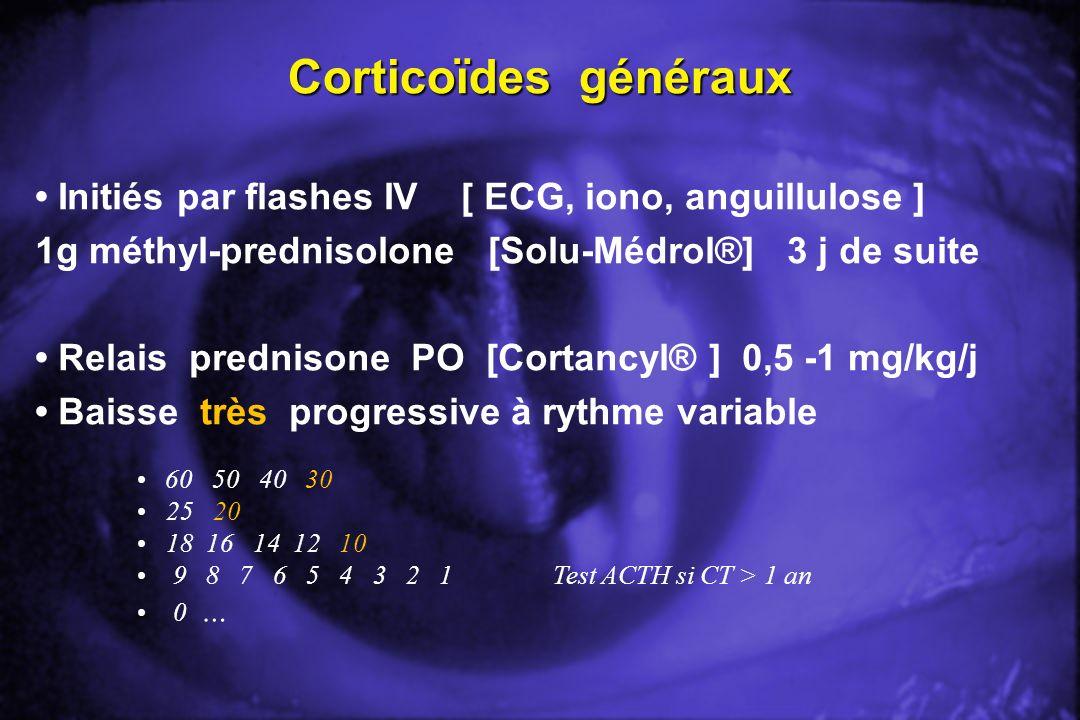 Corticoïdes généraux Initiés par flashes IV [ ECG, iono, anguillulose ] 1g méthyl-prednisolone [Solu-Médrol®] 3 j de suite Relais prednisone PO [Corta