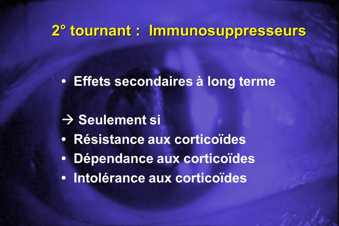 2° tournant : Immunosuppresseurs Effets secondaires à long terme Seulement si Résistance aux corticoïdes Dépendance aux corticoïdes Intolérance aux co