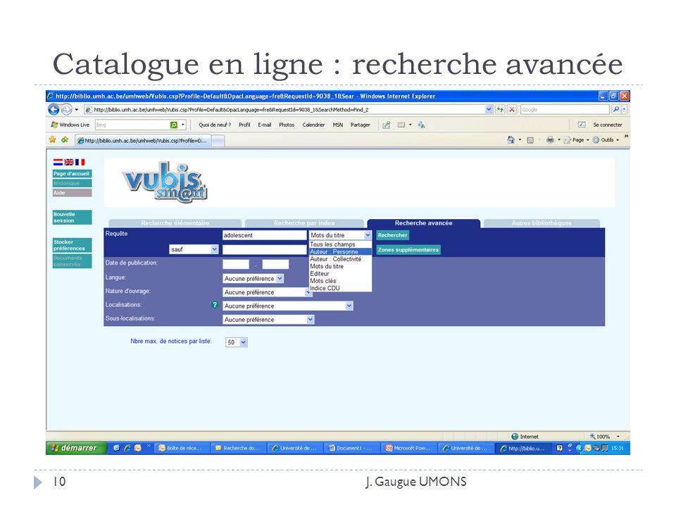Catalogue en ligne : recherche avancée J. Gaugue UMONS10