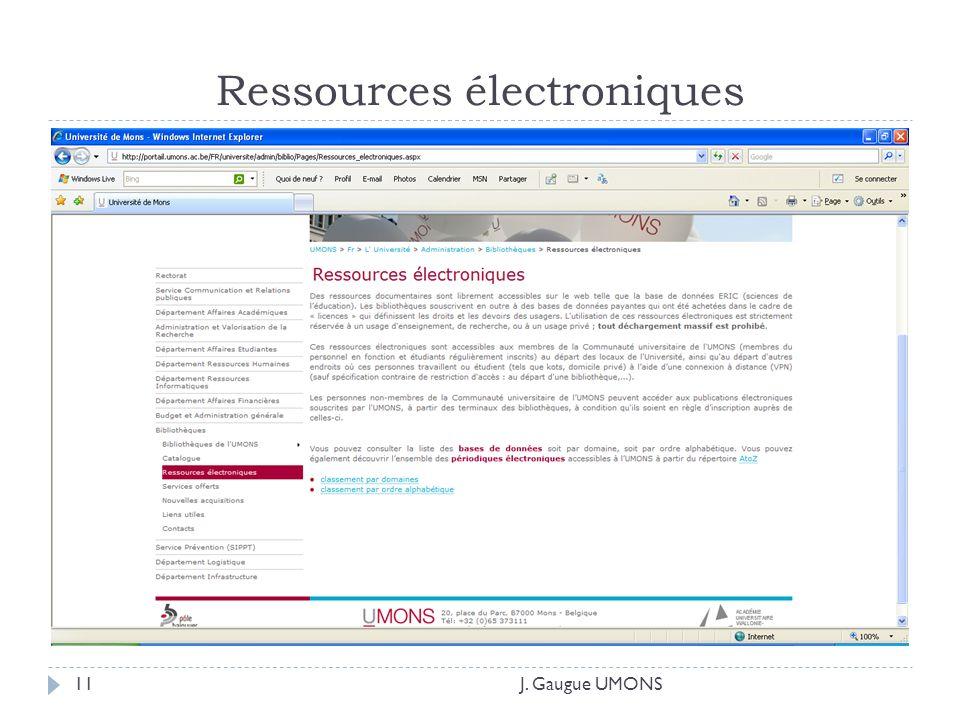Ressources électroniques J. Gaugue UMONS11
