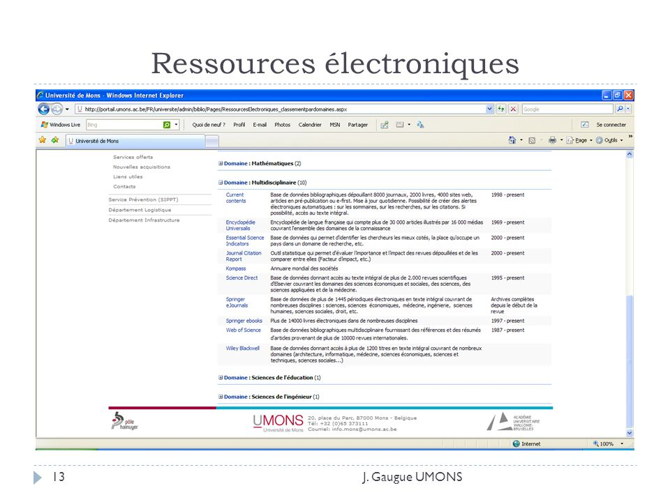 Ressources électroniques J. Gaugue UMONS13