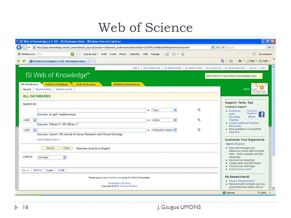 Web of Science J. Gaugue UMONS16