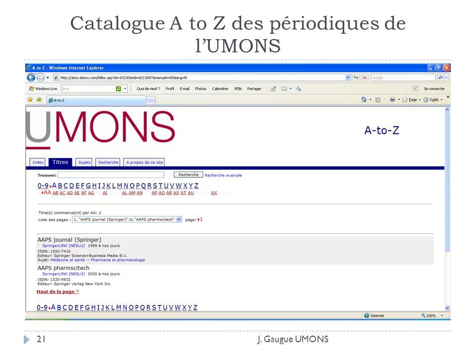 Catalogue A to Z des périodiques de lUMONS J. Gaugue UMONS21