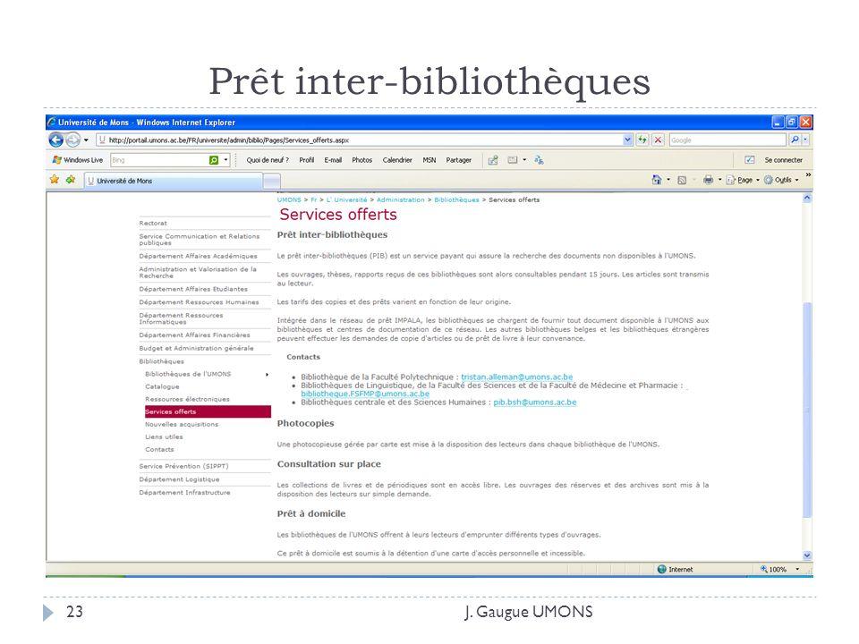 Prêt inter-bibliothèques J. Gaugue UMONS23