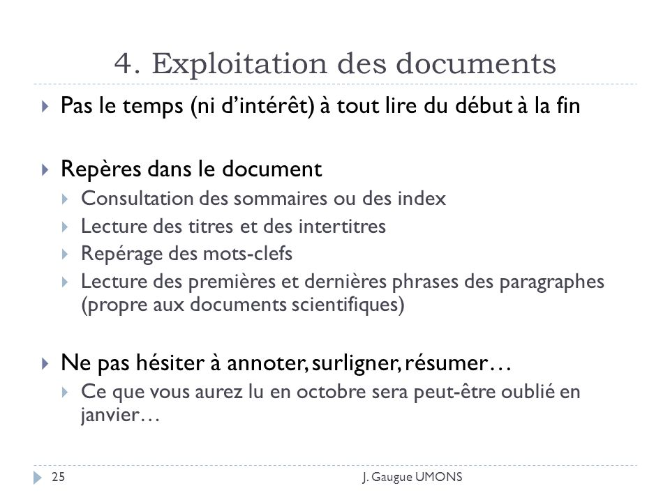 4. Exploitation des documents J.