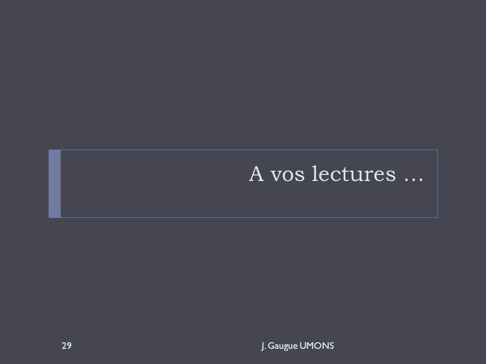 A vos lectures … J. Gaugue UMONS29