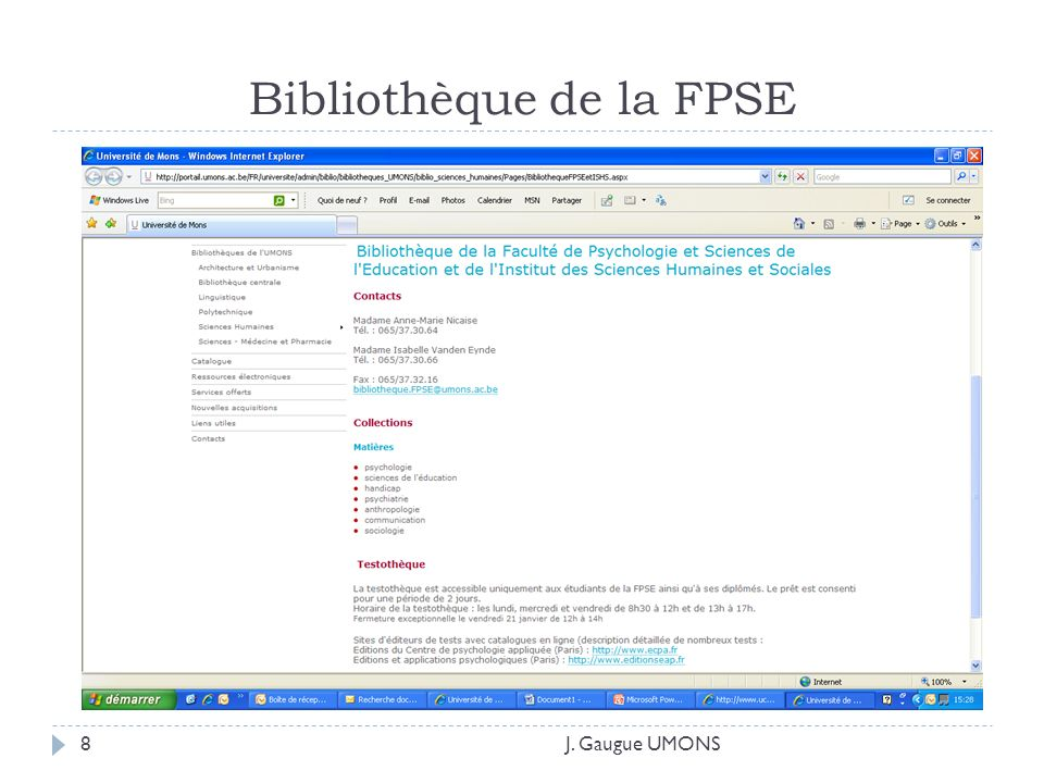 Bibliothèque de la FPSE J. Gaugue UMONS8