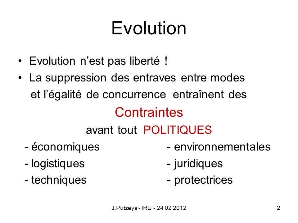 Evolution Evolution nest pas liberté ! La suppression des entraves entre modes et légalité de concurrence entraînent des Contraintes avant tout POLITI