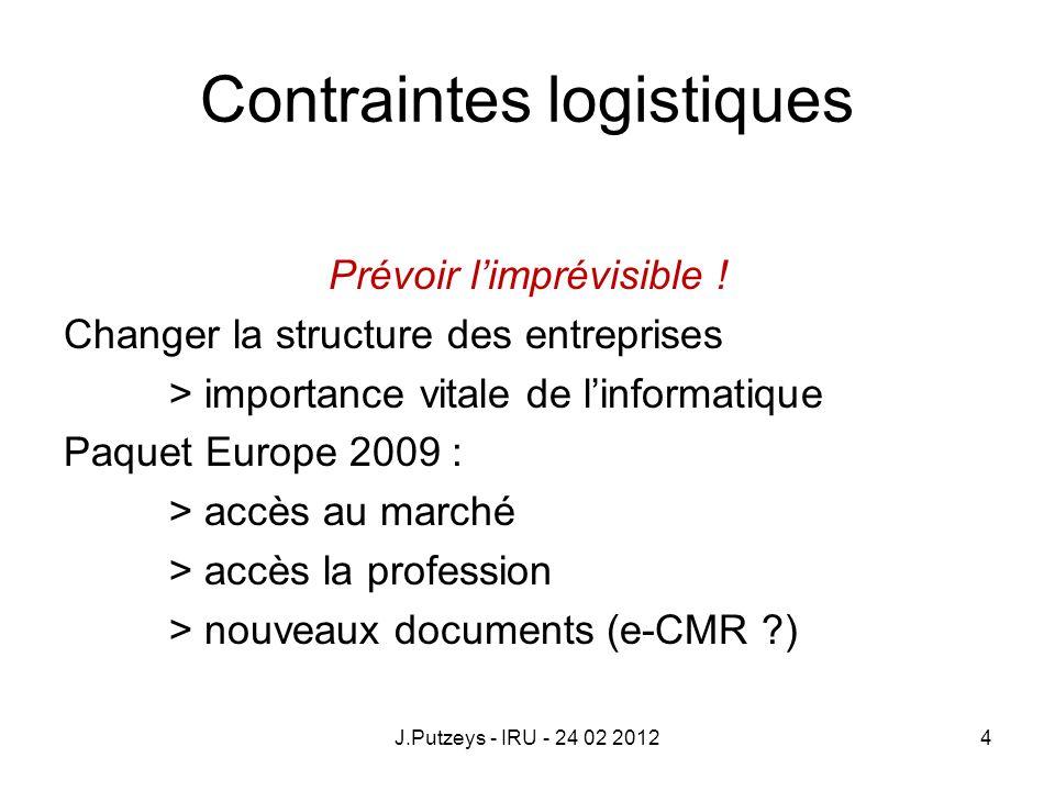 Contraintes logistiques Prévoir limprévisible ! Changer la structure des entreprises > importance vitale de linformatique Paquet Europe 2009 : > accès