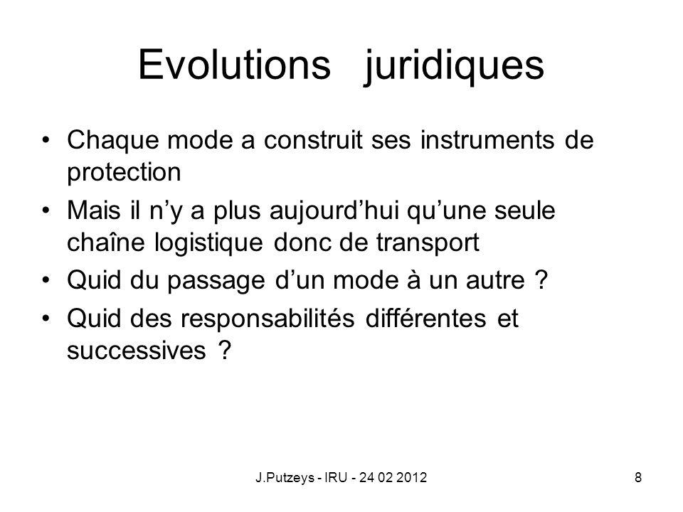 Evolutions juridiques Chaque mode a construit ses instruments de protection Mais il ny a plus aujourdhui quune seule chaîne logistique donc de transpo