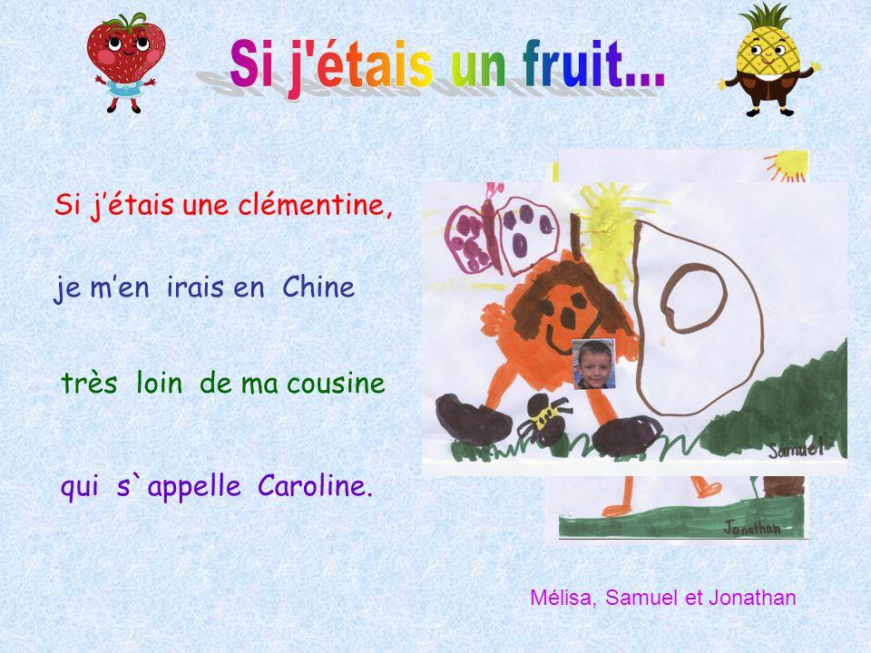 Si jétais une clémentine, je men irais en Chine très loin de ma cousine qui s`appelle Caroline. Mélisa, Samuel et Jonathan