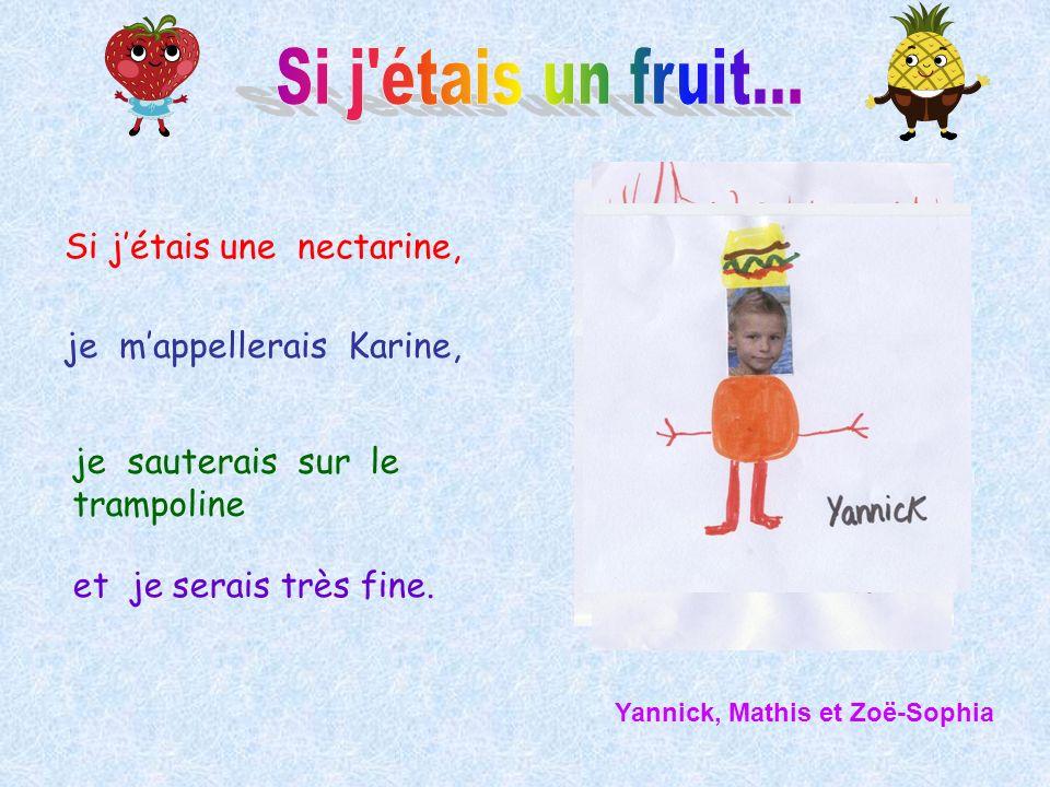 Si jétais une nectarine, je mappellerais Karine, je sauterais sur le trampoline et je serais très fine. Yannick, Mathis et Zoë-Sophia