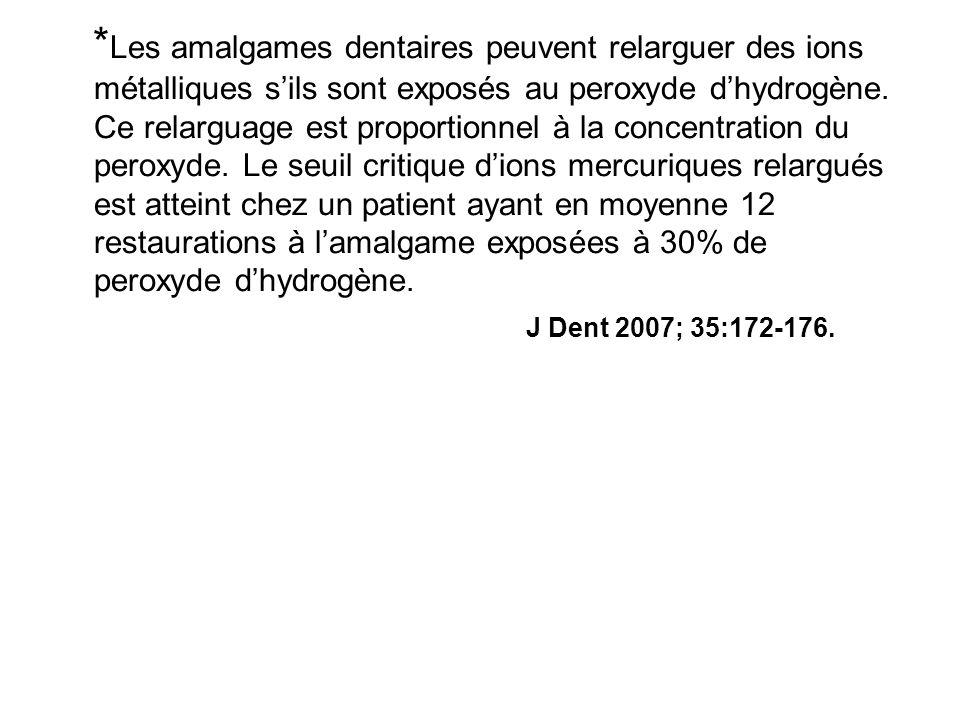 * Les amalgames dentaires peuvent relarguer des ions métalliques sils sont exposés au peroxyde dhydrogène.