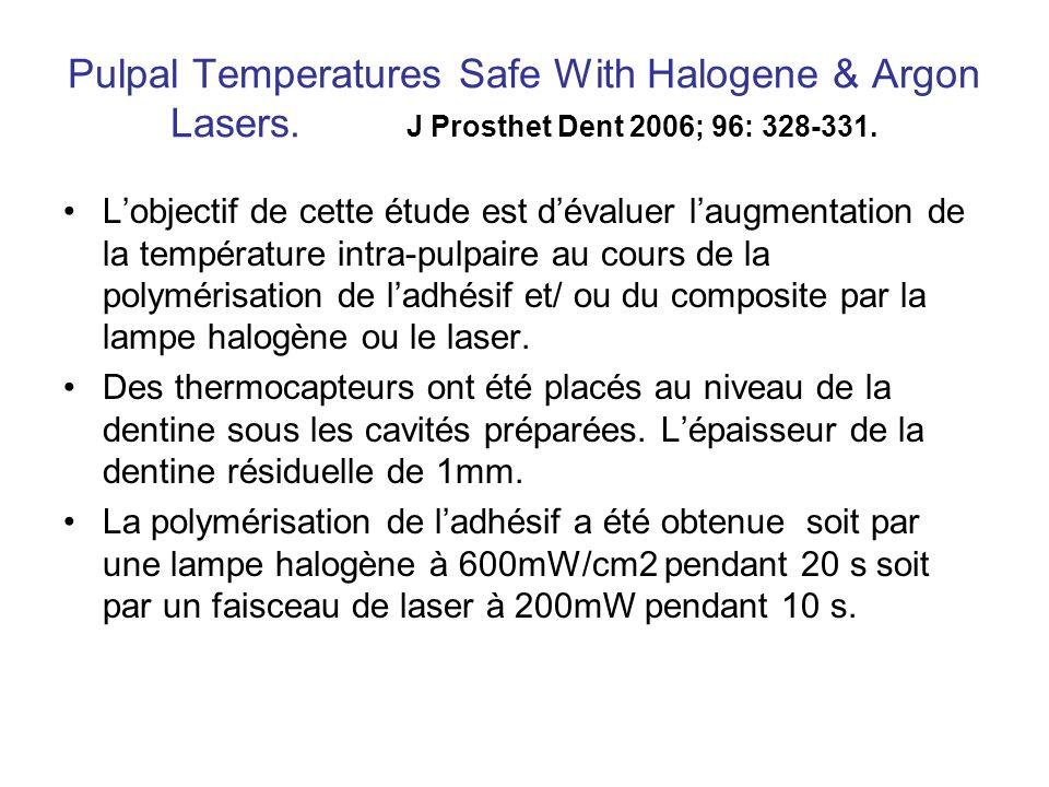 Pulpal Temperatures Safe With Halogene & Argon Lasers. J Prosthet Dent 2006; 96: 328-331. Lobjectif de cette étude est dévaluer laugmentation de la te