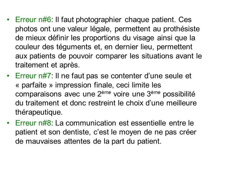 Erreur n#6: Il faut photographier chaque patient. Ces photos ont une valeur légale, permettent au prothésiste de mieux définir les proportions du visa
