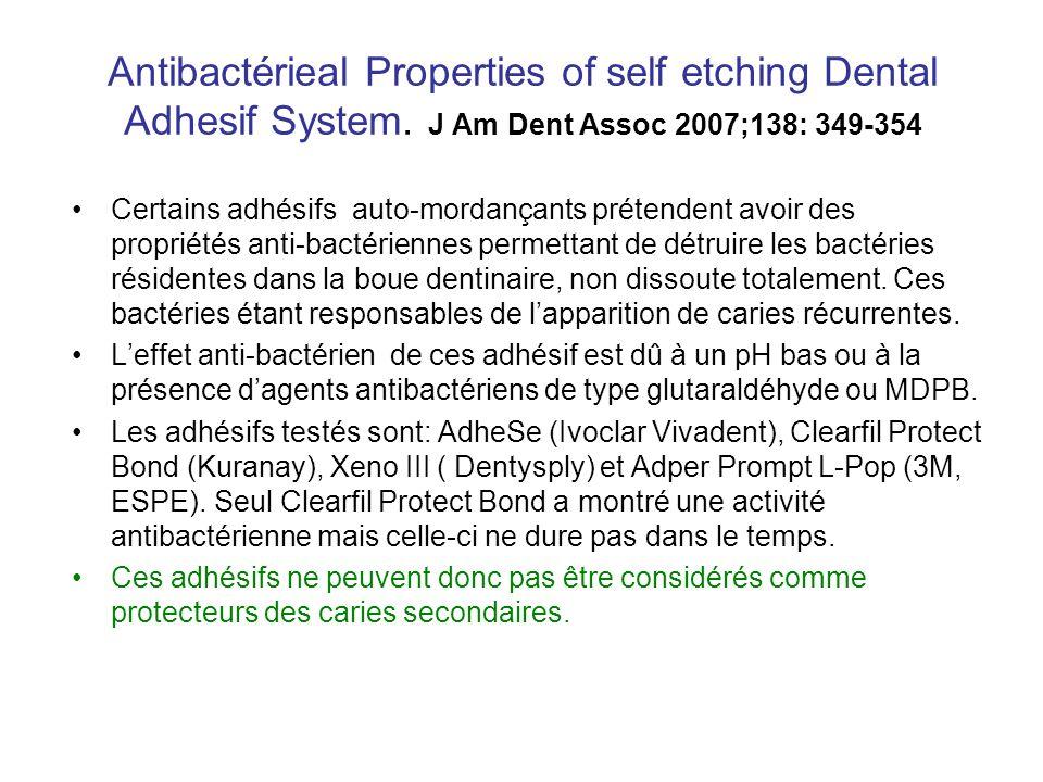 Antibactérieal Properties of self etching Dental Adhesif System. J Am Dent Assoc 2007;138: 349-354 Certains adhésifs auto-mordançants prétendent avoir