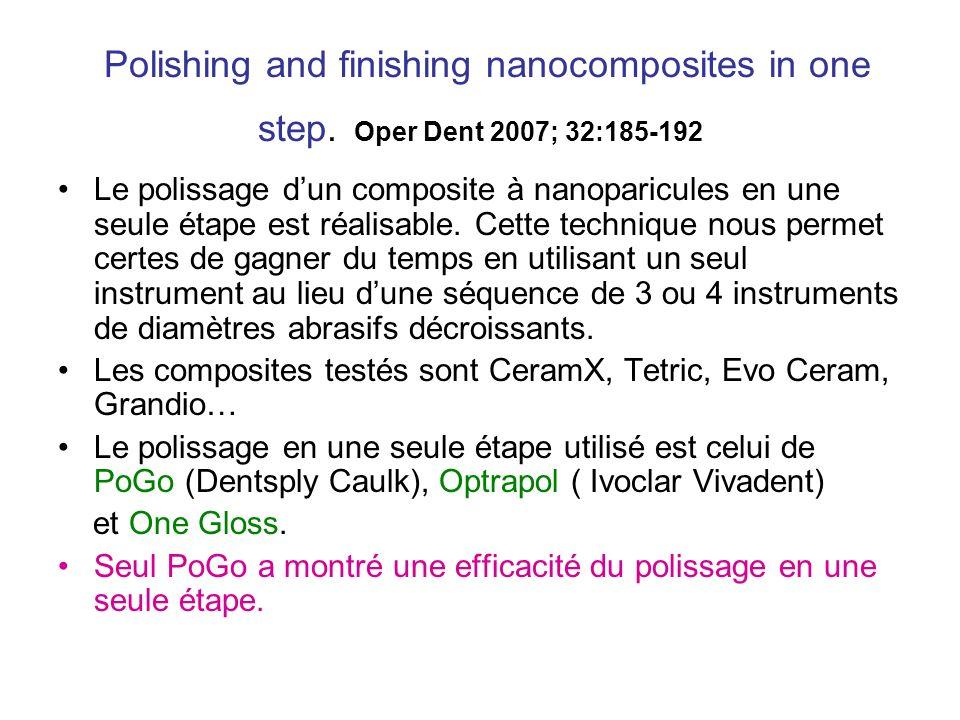 Polishing and finishing nanocomposites in one step. Oper Dent 2007; 32:185-192 Le polissage dun composite à nanoparicules en une seule étape est réali