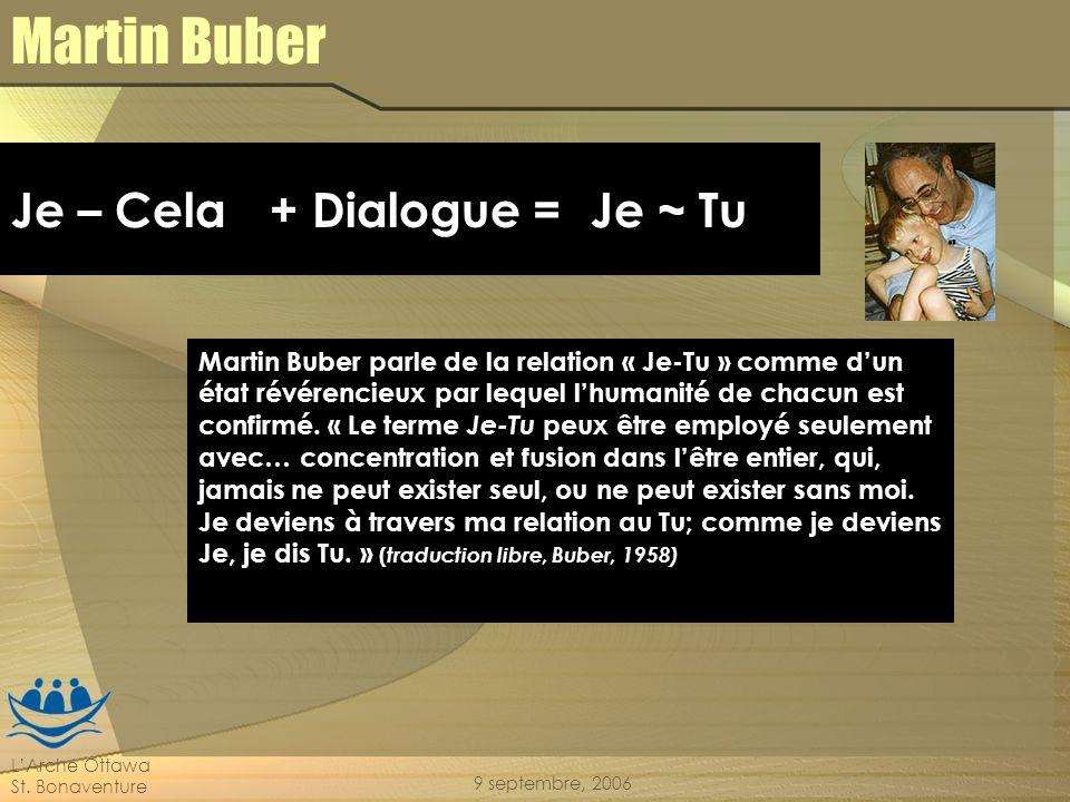LArche Ottawa St. Bonaventure 9 septembre, 2006 Martin Buber Martin Buber parle de la relation « Je-Tu » comme dun état révérencieux par lequel lhuman