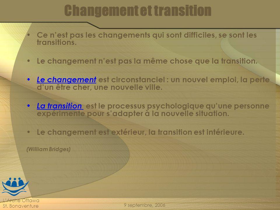 LArche Ottawa St. Bonaventure 9 septembre, 2006 Changement et transition Ce nest pas les changements qui sont difficiles, se sont les transitions. Le