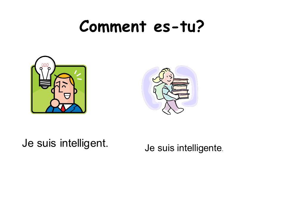 Comment es-tu? Je suis intelligent. Je suis intelligente.
