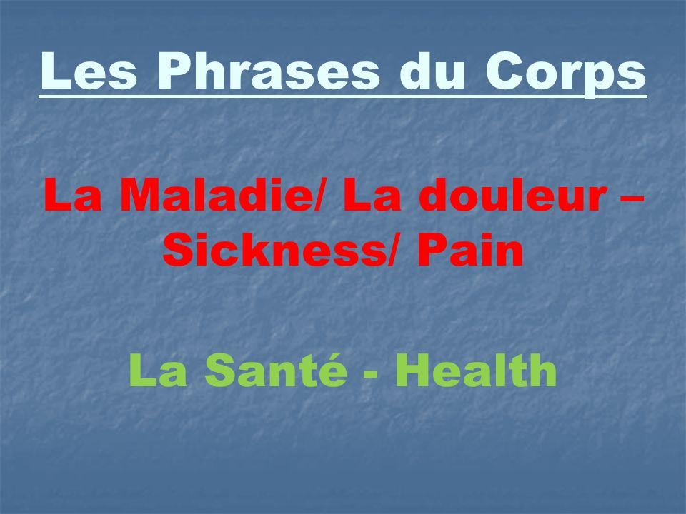 Les Phrases du Corps La Maladie/ La douleur – Sickness/ Pain La Santé - Health