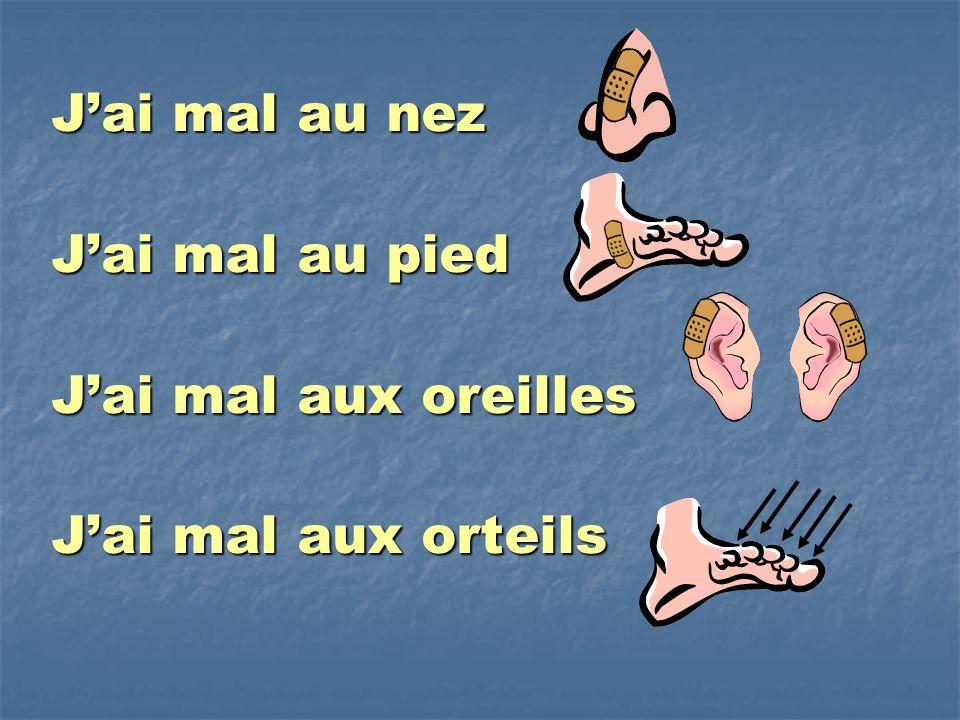Jai mal au nez Jai mal au pied Jai mal aux oreilles Jai mal aux orteils