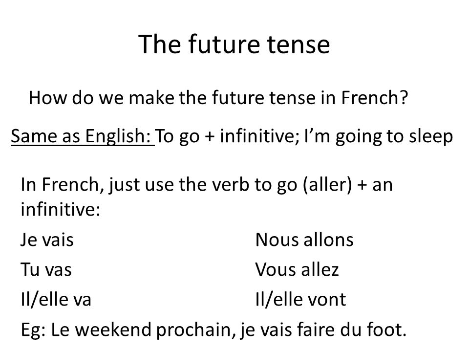 The future tense How do we make the future tense in French.