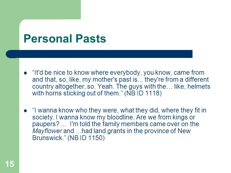 15 Personal Pasts It d be nice to know where everybody, you know, came from and that, so, like, my mother s past is...