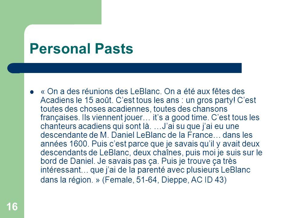 16 Personal Pasts « On a des réunions des LeBlanc. On a été aux fêtes des Acadiens le 15 août. Cest tous les ans : un gros party! Cest toutes des chos