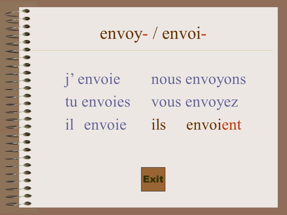envoy- / envoi- j envoienous envoyons tu envoiesvous envoyez il envoieils envoi-ent Exit