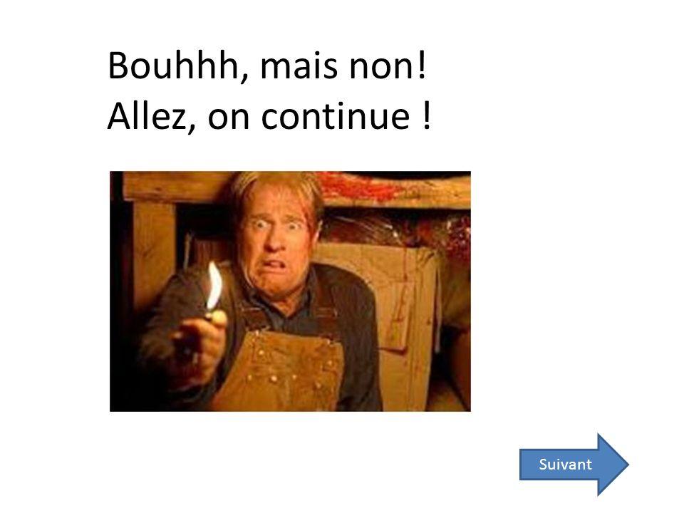 Suivant Bouhhh, mais non! Allez, on continue !