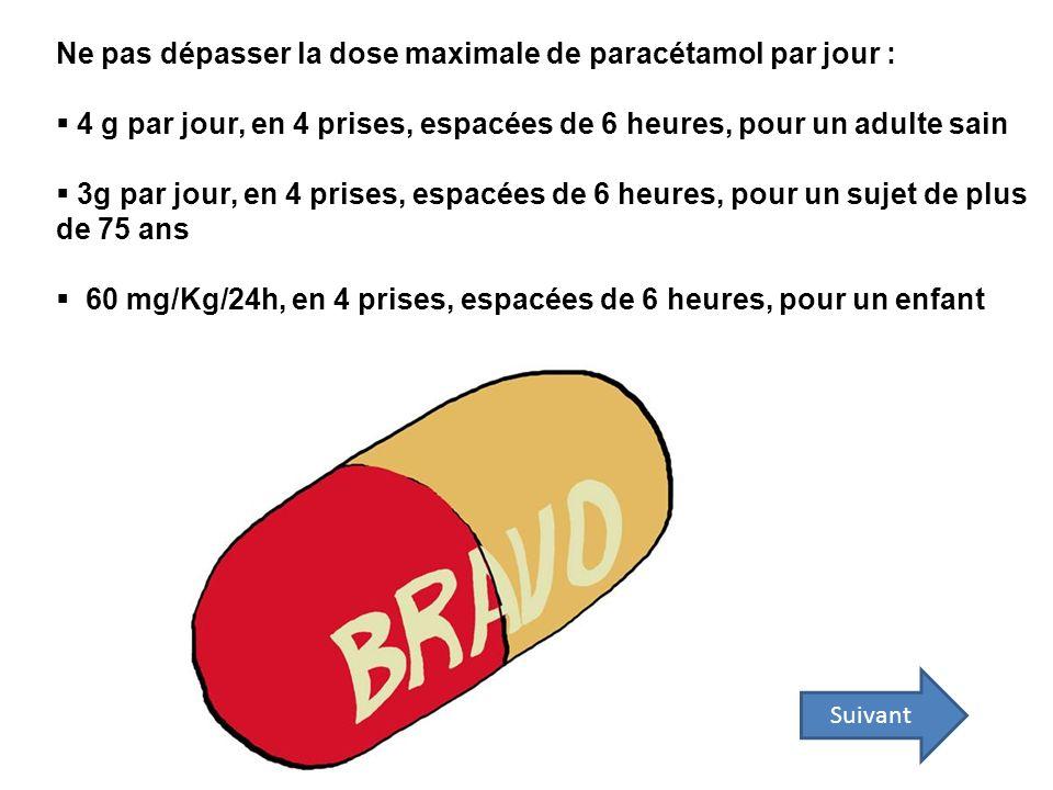 Suivant Ne pas dépasser la dose maximale de paracétamol par jour : 4 g par jour, en 4 prises, espacées de 6 heures, pour un adulte sain 3g par jour, e