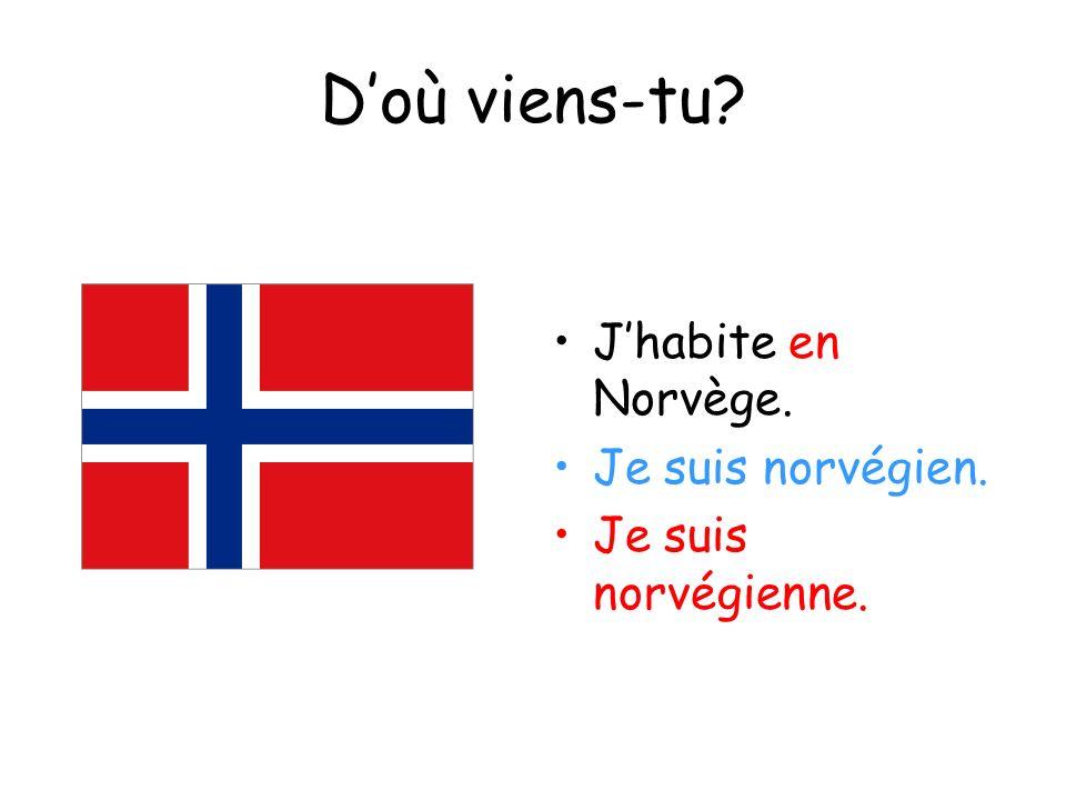 Doù viens-tu? Jhabite en Norvège. Je suis norvégien. Je suis norvégienne.