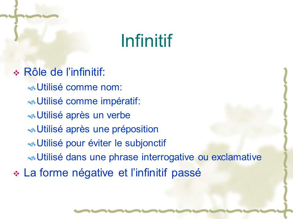 Infinitif Rôle de linfinitif: Utilisé comme nom: Utilisé comme impératif: Utilisé après un verbe Utilisé après une préposition Utilisé pour éviter le