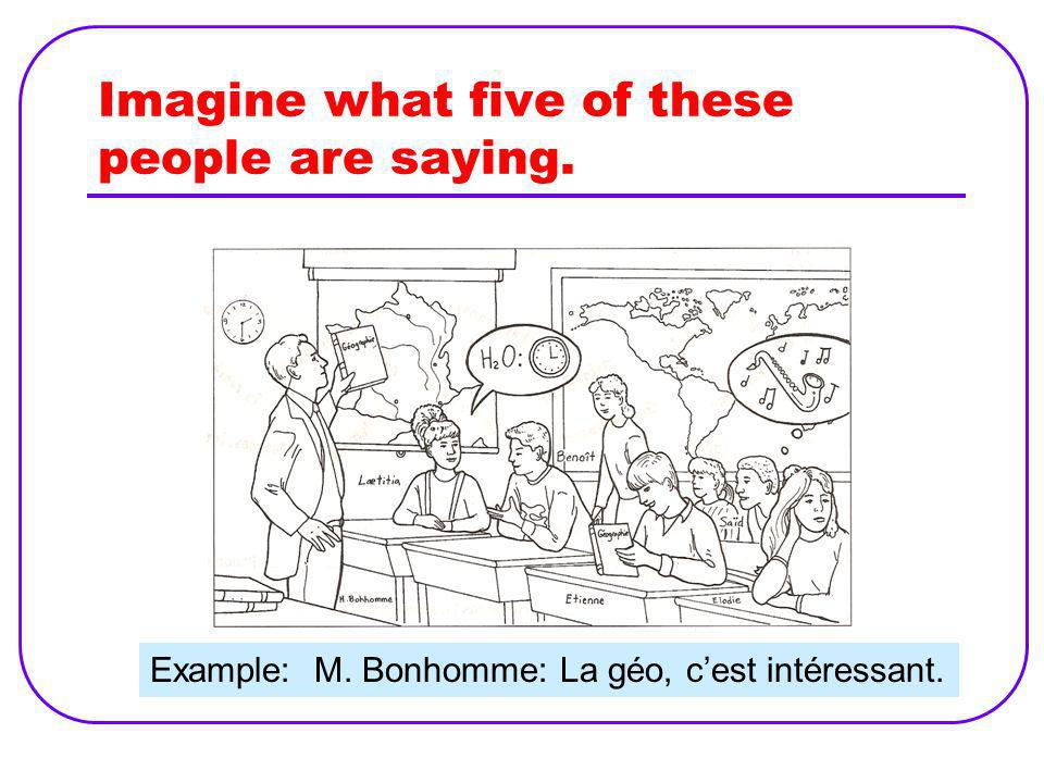 Rewrite the dialogue in a logical order. Comment sappelle le prof? Jai histoire à dix heures trente. Cest intéressant. Comment tu trouves le cours? Le