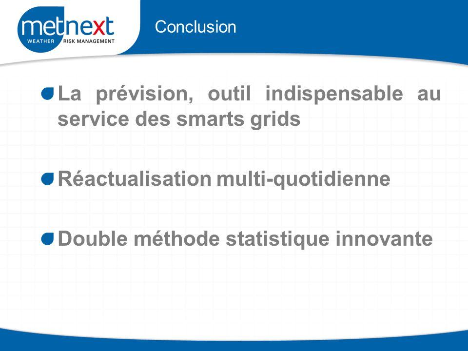 Conclusion La prévision, outil indispensable au service des smarts grids Réactualisation multi-quotidienne Double méthode statistique innovante