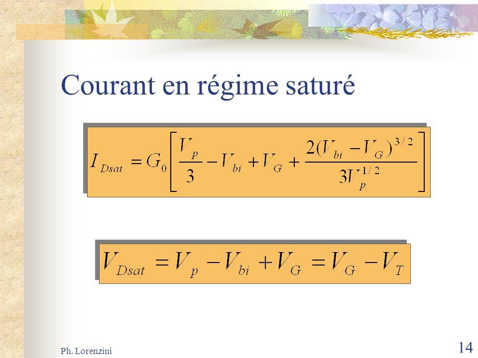 Ph. Lorenzini 14 Courant en régime saturé