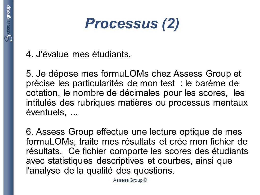 Assess Group © Processus (2) 4. J'évalue mes étudiants. 5. Je dépose mes formuLOMs chez Assess Group et précise les particularités de mon test : le ba