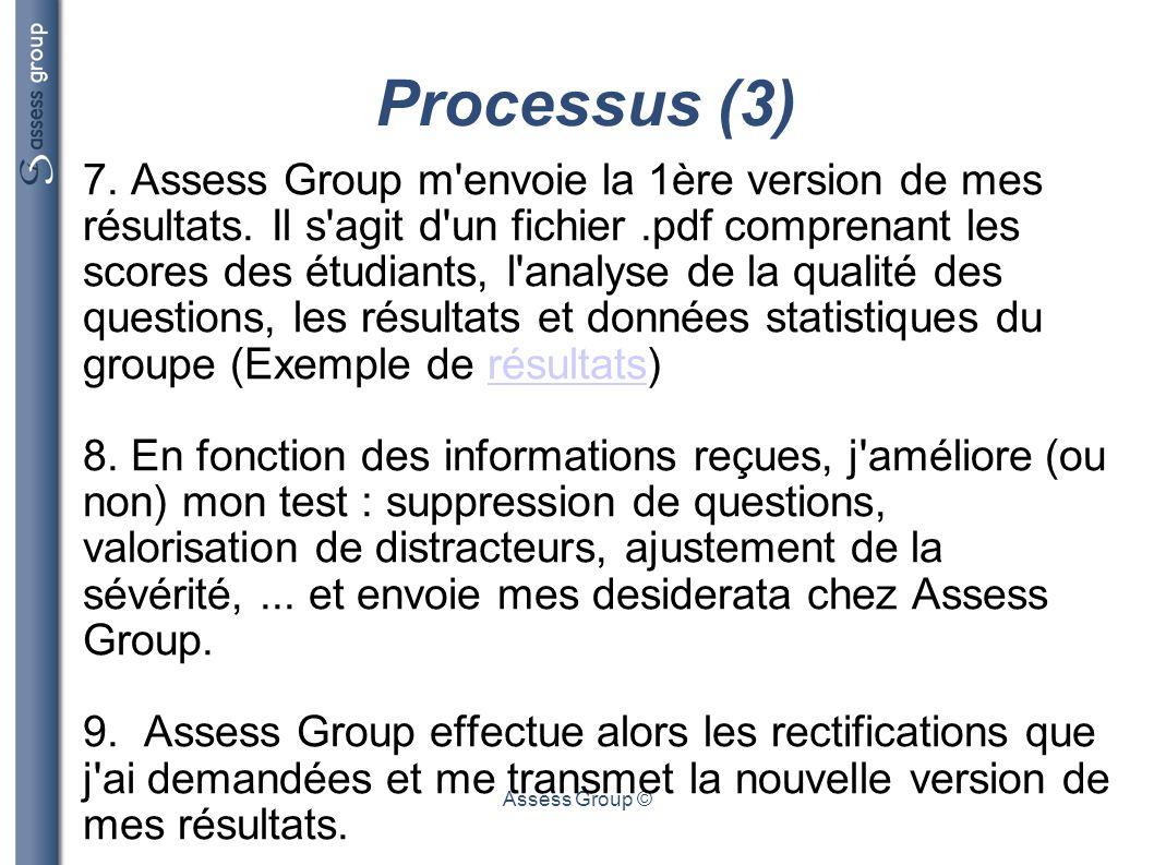 Assess Group © Processus (3) 7. Assess Group m'envoie la 1ère version de mes résultats. Il s'agit d'un fichier.pdf comprenant les scores des étudiants
