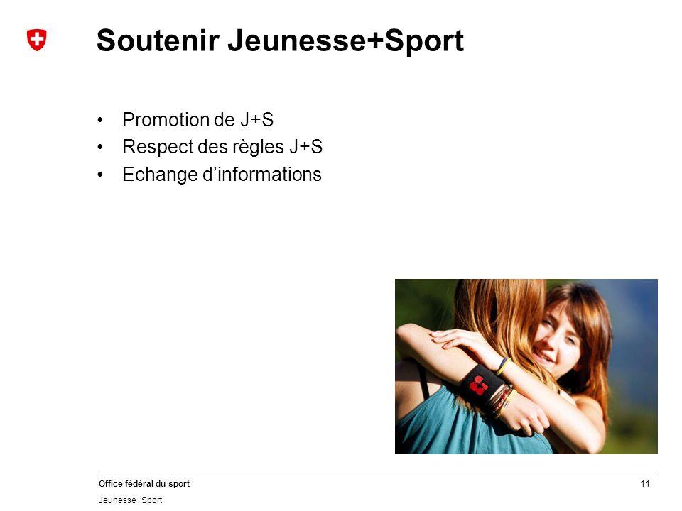 11 Office fédéral du sport Jeunesse+Sport Soutenir Jeunesse+Sport Promotion de J+S Respect des règles J+S Echange dinformations