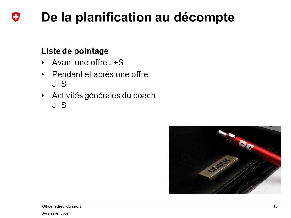 15 Office fédéral du sport Jeunesse+Sport De la planification au décompte Liste de pointage Avant une offre J+S Pendant et après une offre J+S Activités générales du coach J+S