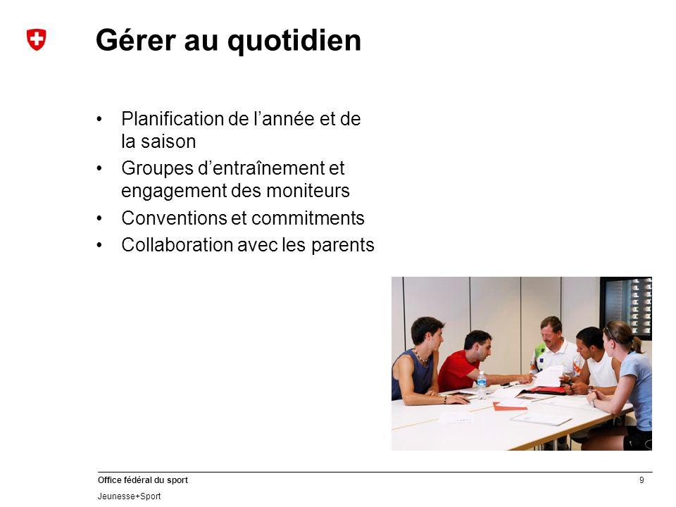 9 Office fédéral du sport Jeunesse+Sport Gérer au quotidien Planification de lannée et de la saison Groupes dentraînement et engagement des moniteurs Conventions et commitments Collaboration avec les parents