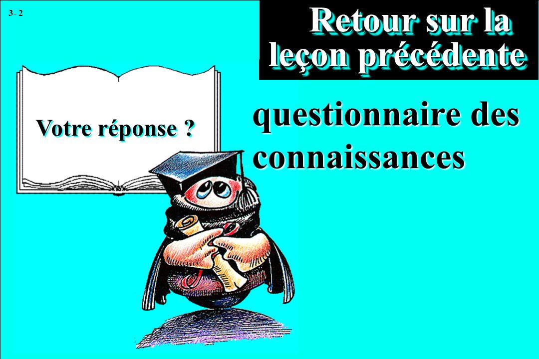 3- 2 Votre réponse ? Retour sur la leçon précédente Retour sur la leçon précédente questionnaire des connaissances