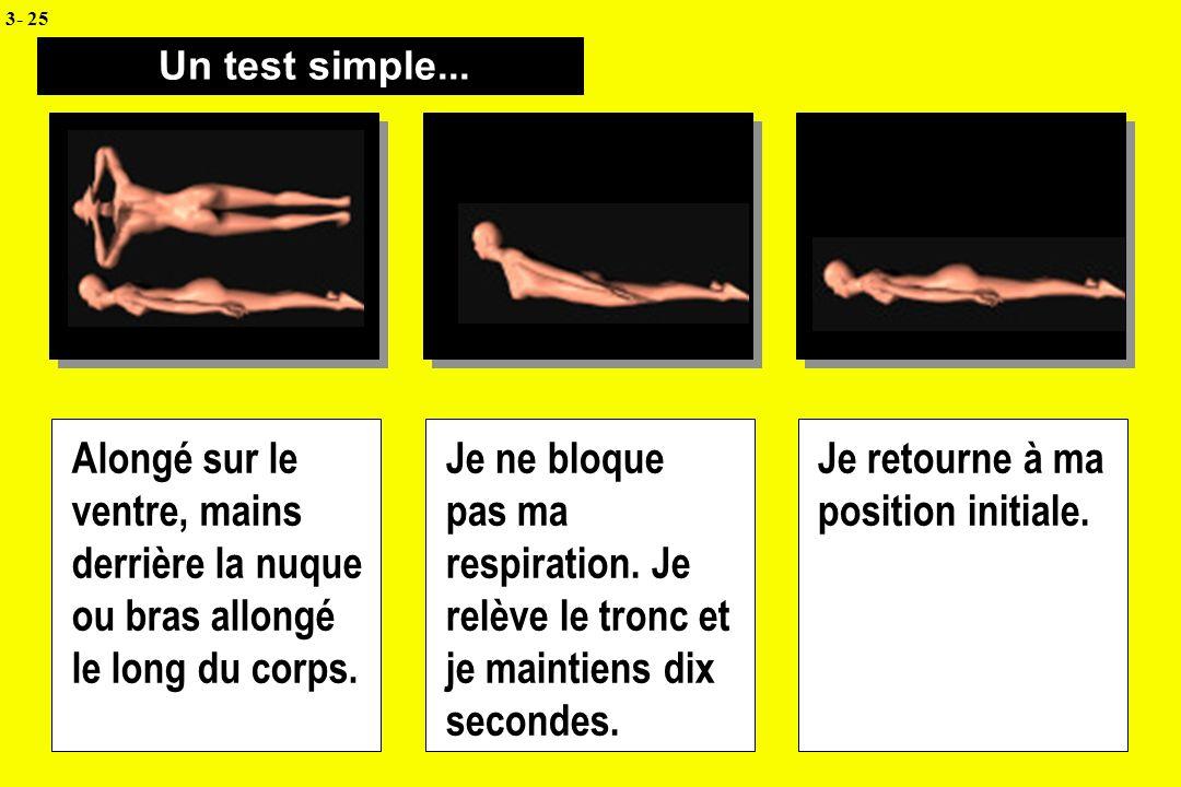 Un test simple... Alongé sur le ventre, mains derrière la nuque ou bras allongé le long du corps. Je ne bloque pas ma respiration. Je relève le tronc